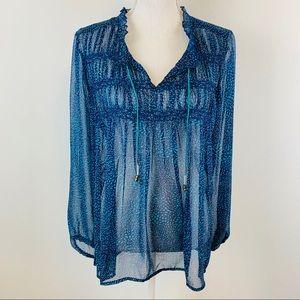 2/$25 Roxy Buckle Blue Sheer Long Sleeve Blouse L